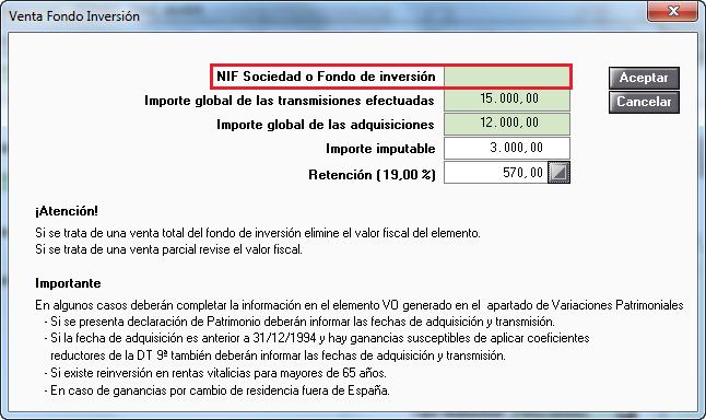 Venta Fondo de Inversión NIF Extranjero