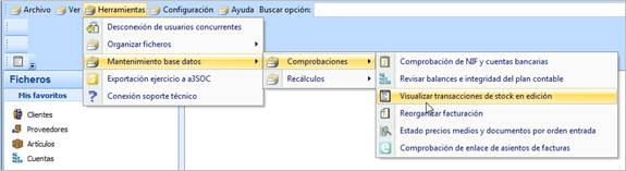 Herramientas / Mantenimiento / Comprobaciones / Visualizar transacciones de stock en edición