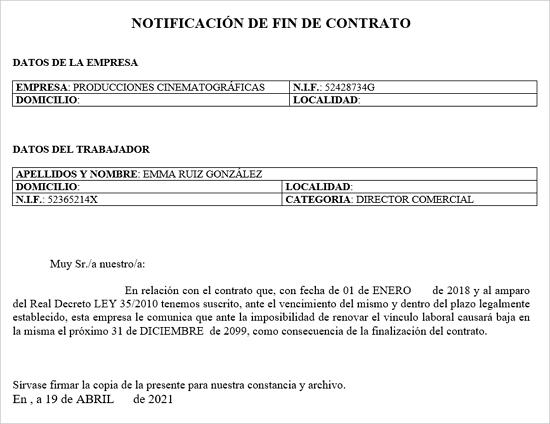 notificacion de fin de contrato