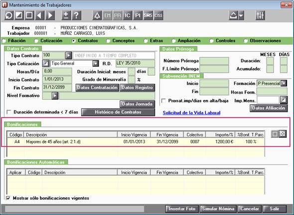 bonificacion datos trabajador