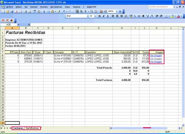 Libro de registros con acceso directo a las imagenes de las facturas