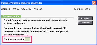 Parametrización carácter separador