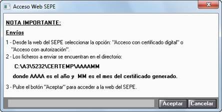 Envío fichero a SEPE