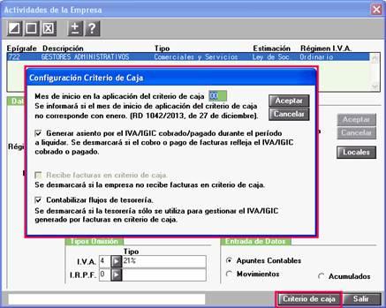Configuración de Criterio de Caja