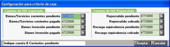 Configuración para criterio de caja