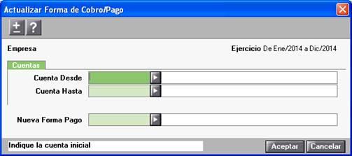 Actualizar Forma de Cobro/Pago