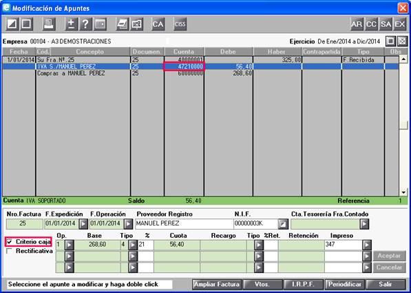 Modificación de Apuntes criterio de caja