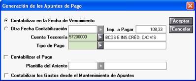 Generación de apuntes de pago/cobro