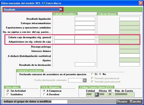 Datos manuales 303