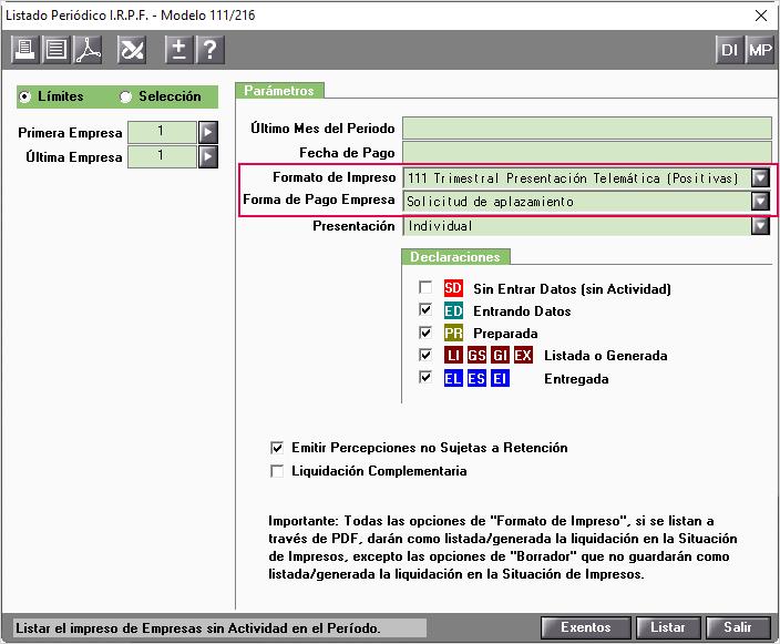 Modelo 111 Trimestral Presentacion Telematica Positivas