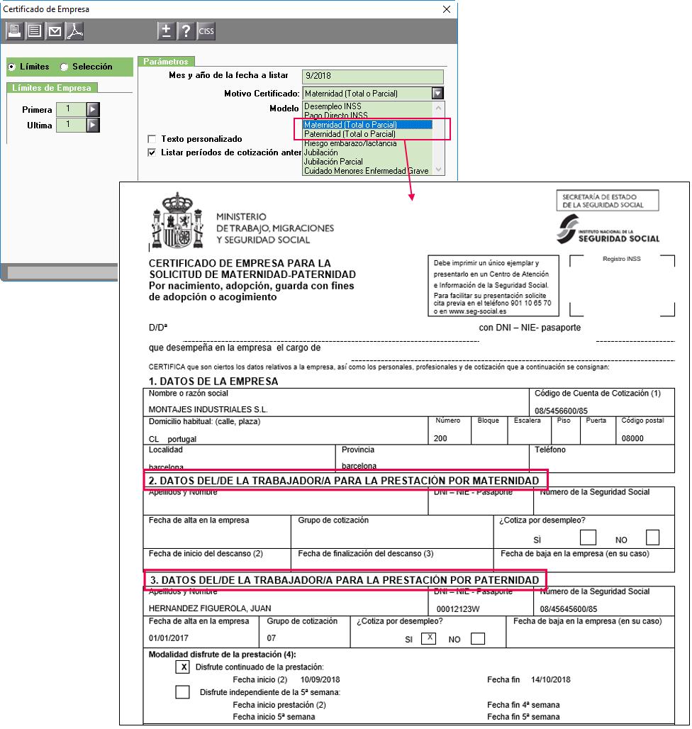certificado empresa maternidad paternidad