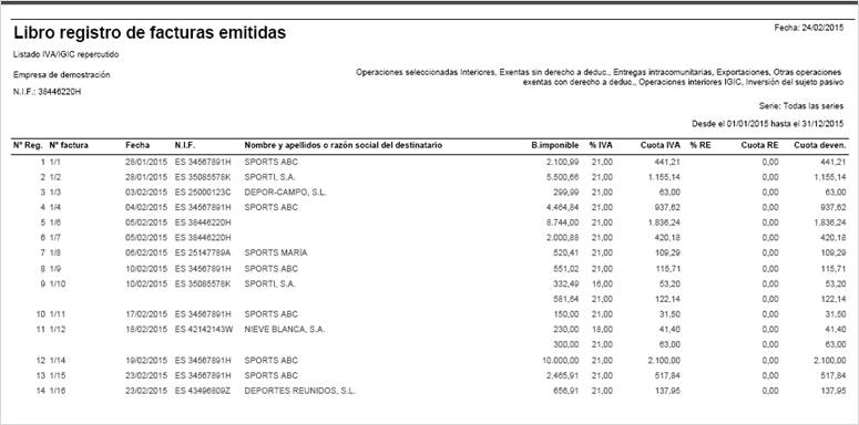 libro registro facturas emitidas por pantalla