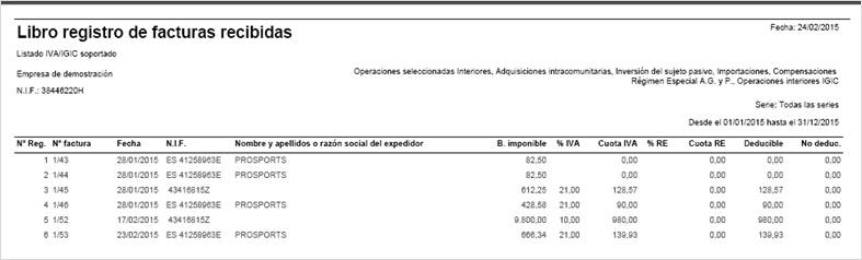 libro registro facturas recibidas por pantalla