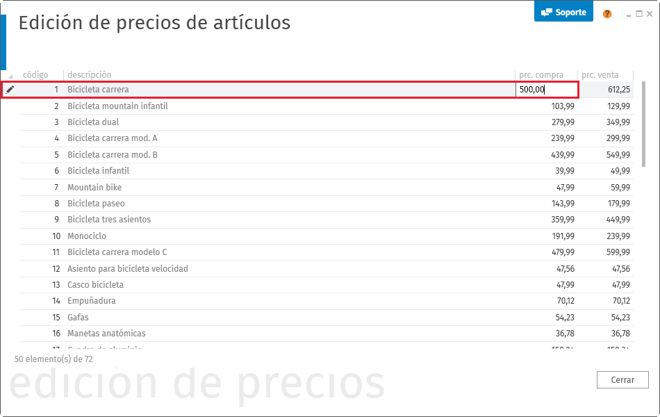 Edicion de precios de articulos