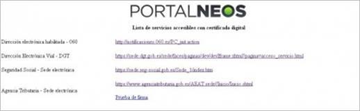 Listado de Servicios Accesibles con Certificado Digital