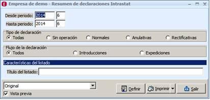 Resumen de operaciones
