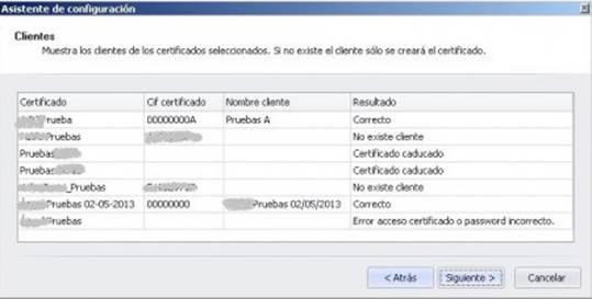Clientes de los certificados