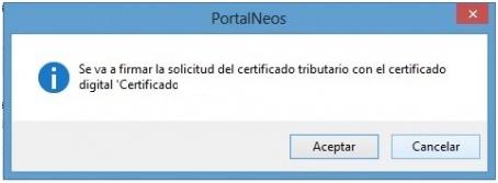 Solicitud del certificado solicitada