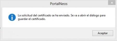 Solicitud del certificado enviada