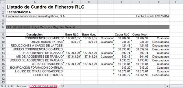 listado cuadre ficheros RLC