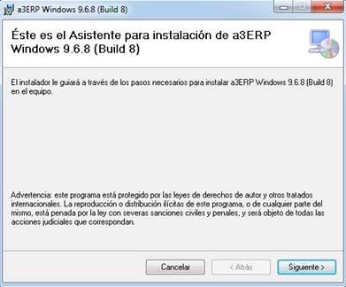 a3ERP Asistente de actualización