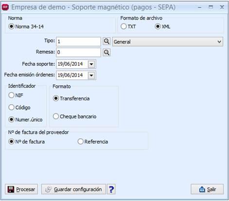 Soporte magnético (pagos) – Norma 34-14 (SEPA)
