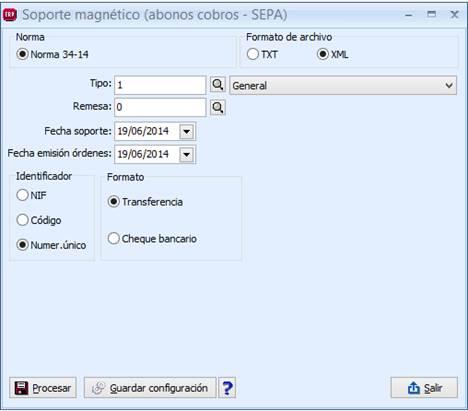 Soporte magnético (abonos cobros) – Norma 34-14 (SEPA)