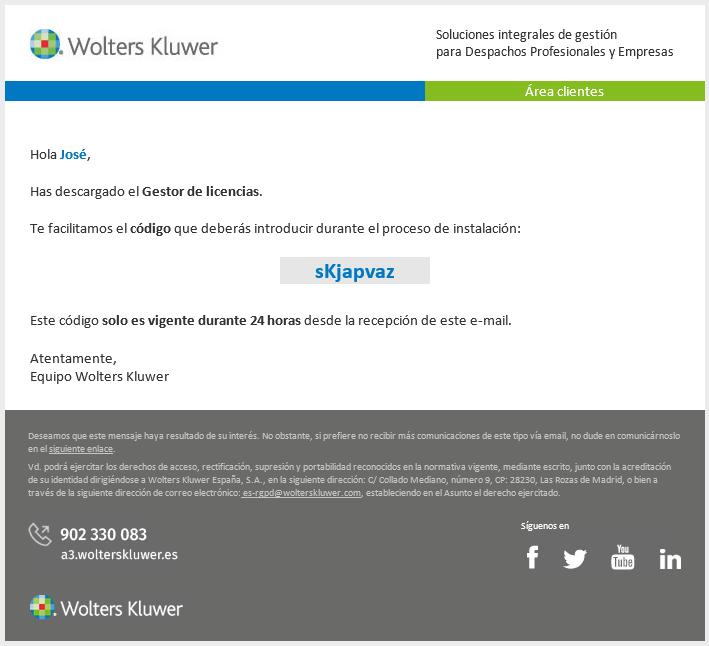 Email código de validación