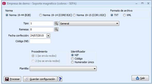 Soporte magnético (cobros - SEPA)