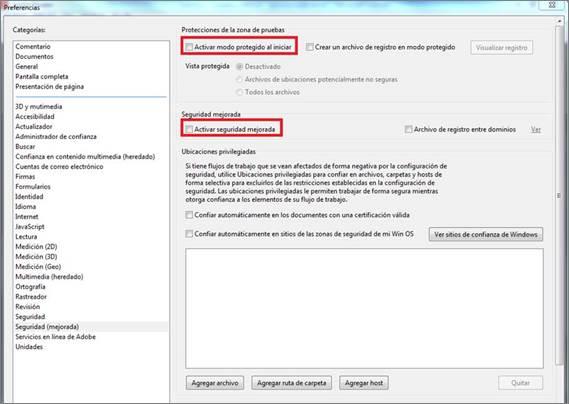 Activar modo protegido y seguridad mejorada Adobe Reader