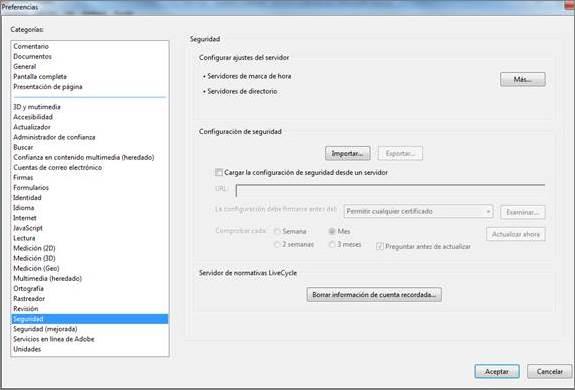 Seguridad en preferencias Adobe Reader