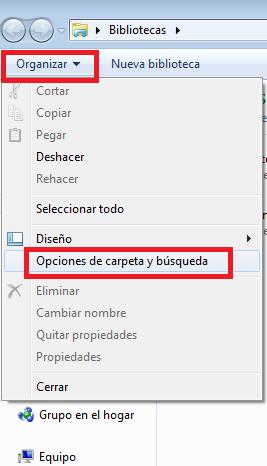 Opciones de carpeta