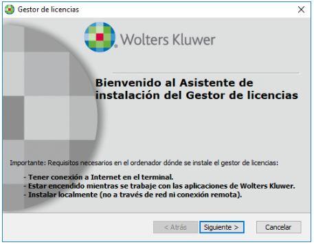 instalación gestor licencias