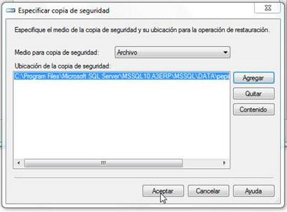 especificar copia seguridad