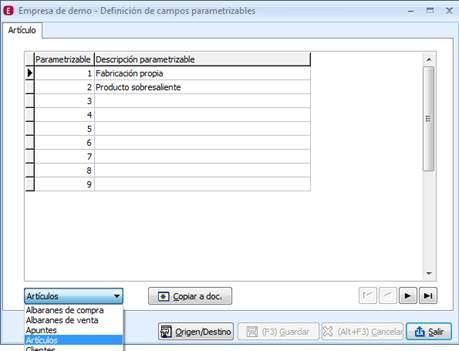 Campos parametrizables
