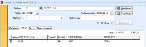 campo parametrizable en facturas
