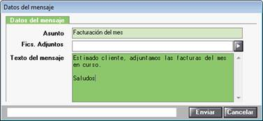 Asunto y texto e-mail