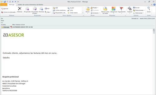 Texto del mensaje en Outlook