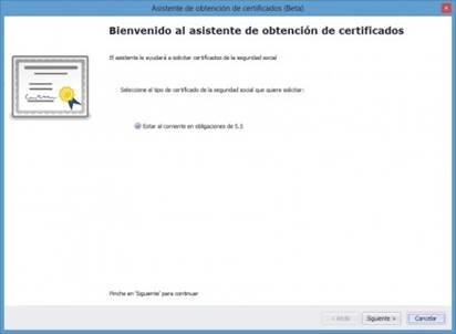 Asistente de Obtención de Certificados de la SS