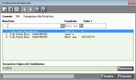 Condiciones selección generador informes
