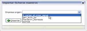Selección de empresa importar ficheros maestros