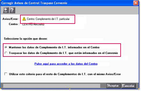 Mantener datos complemento IT centro