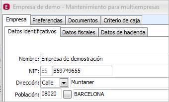 Datos identificativos empresa