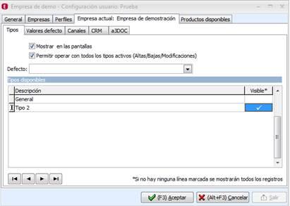 Configuración usuario