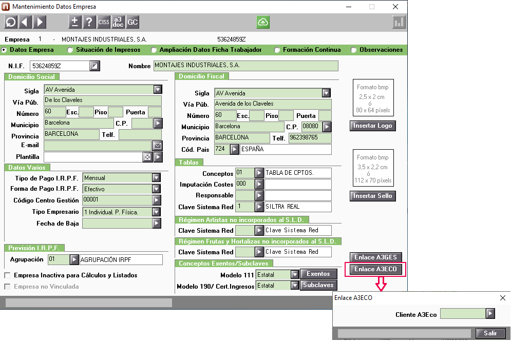 configurar enlace contable analitica