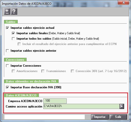 Importacion Datos de A3ECO A3CON Datos