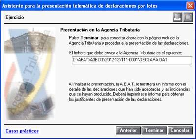 Directorio fichero presentación telemática