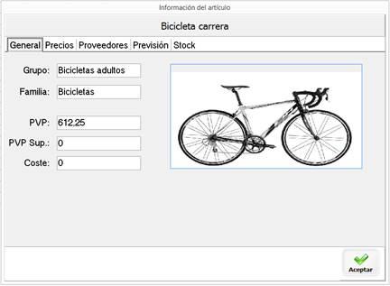 Consulta de ficha de artículo desde la pantalla de venta
