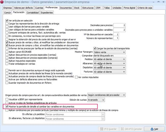 Mostrar la pantalla de detalle al cambiar las variables en documentos