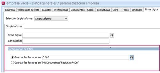 Configuración de FACe